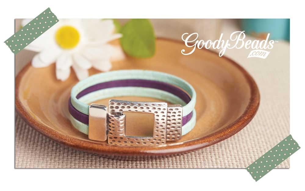 Goody Beads Purple Sky Flat Leather Bracelet