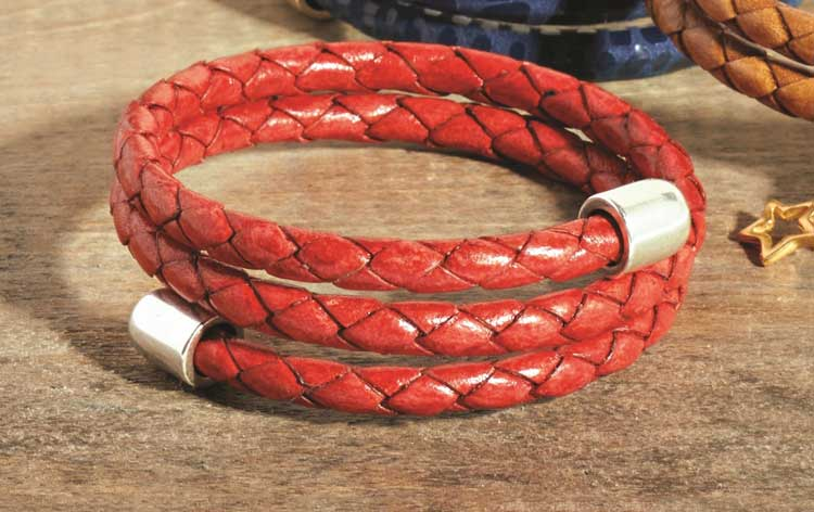GoodyBeads | Blog: Scarlet Willow Memory Wire Leather Wrap Bracelet