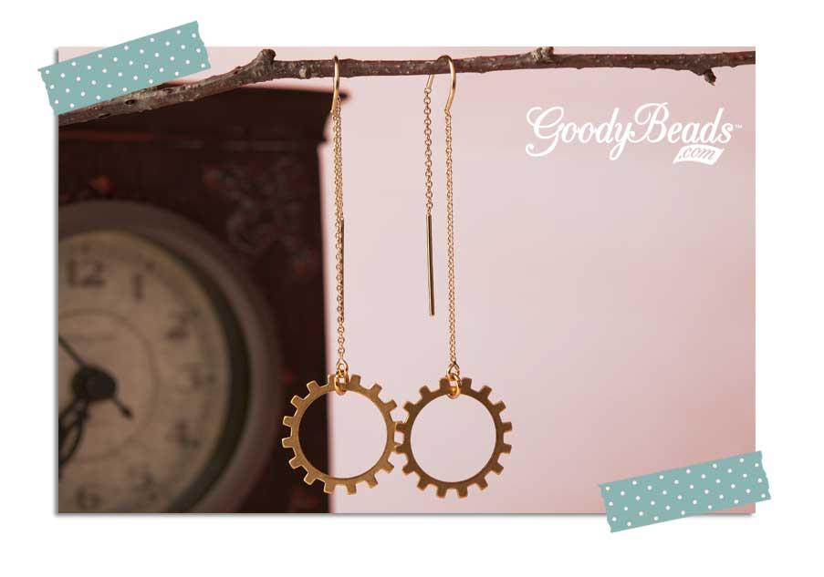 GoodyBeads.com Blog   Golden Gear Threader Earring