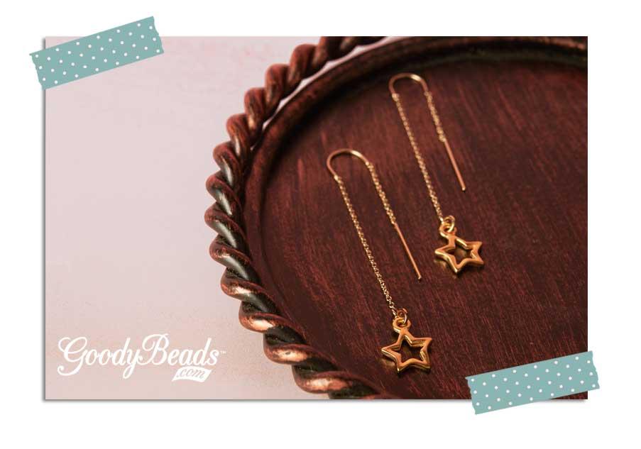 GoodyBeads.com Blog   Golden Star Threader Earring