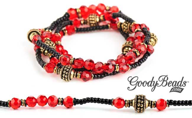 GoodyBeads.com Blog   Wrap-Around Golden Ruby Bracelet