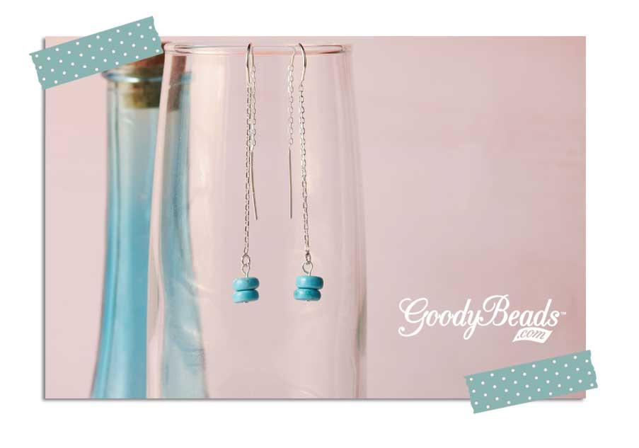GoodyBeads.com Blog   Turquoise Drop Threader Earring