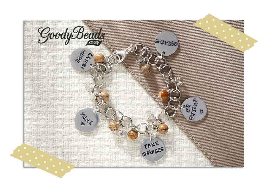 GoodyBeads.com Blog | Resolution Braceletes - Metal Stamping: Picture Jasper Charm Bracelet