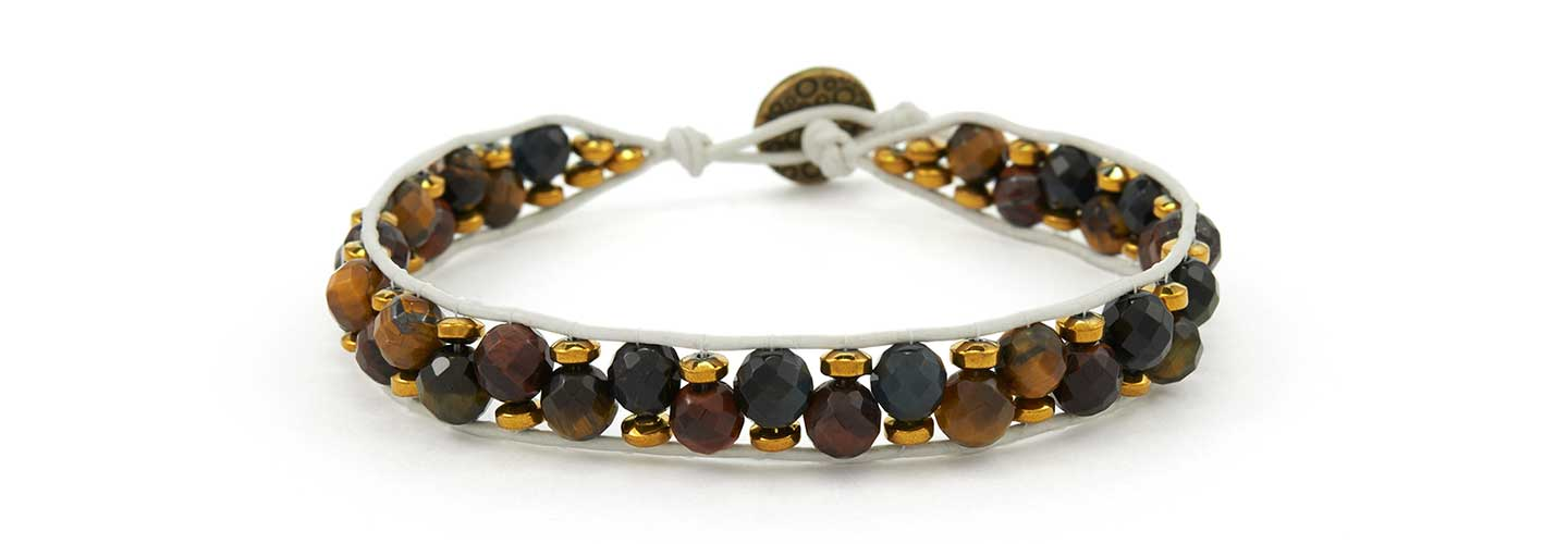 GoodyBeads.com | Blog: How to make Wrap Bracelets with Illustrated Tutorials - Faceted And Gold Nugget Wrap Bracelet