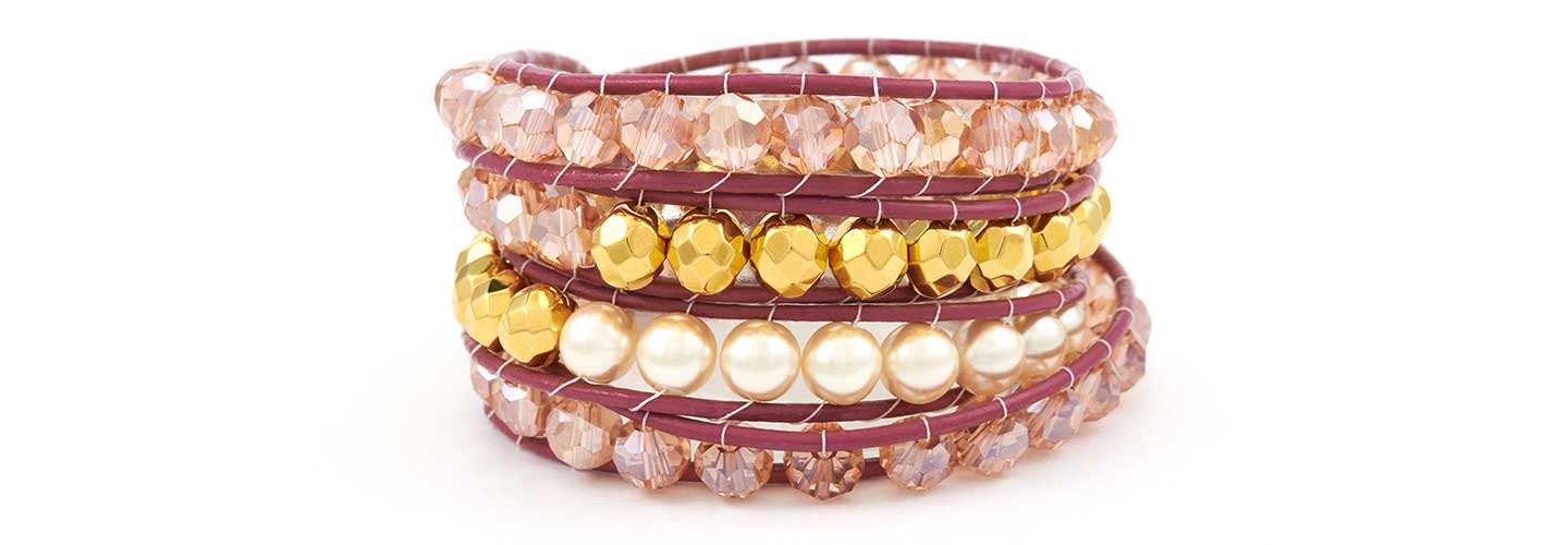GoodyBeads.com | Blog: How to make Wrap Bracelets with Illustrated Tutorials - Pink and Pearl Wrap Bracelet