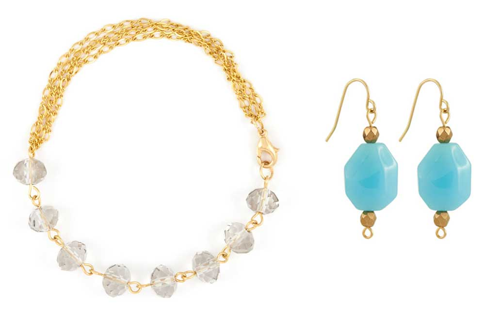 GoodyBeads.com | Blog: How to Use Your Leftover Beads - Blue Amber Earring and Bracelet