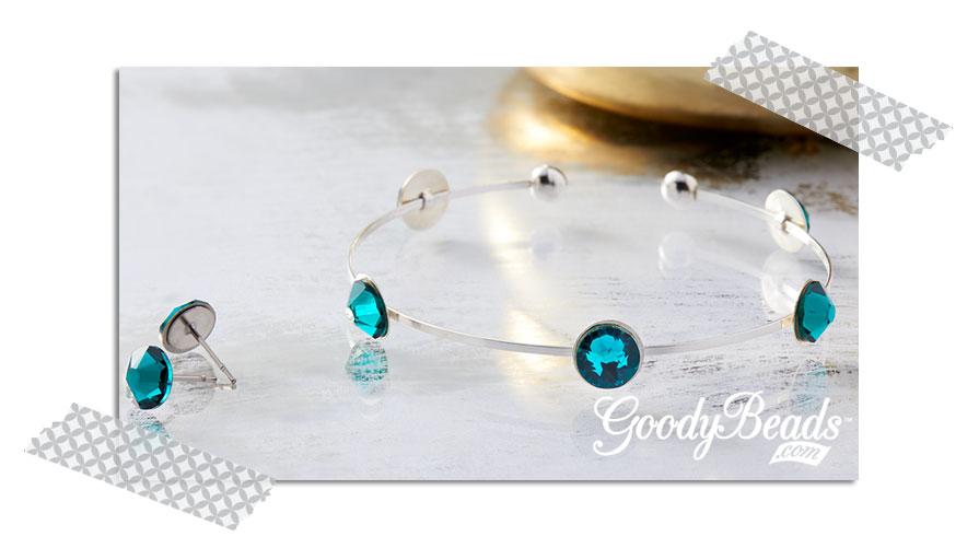 GoodyBeads.com Blog | Using Swarovski Flat Back - Emerald Bangle and Studs