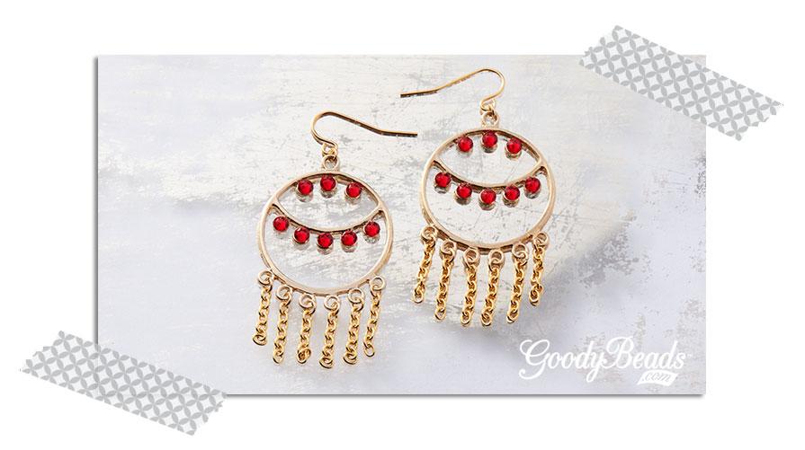 GoodyBeads.com Blog | Using Swarovski Flat Back - Red Gold Earrings