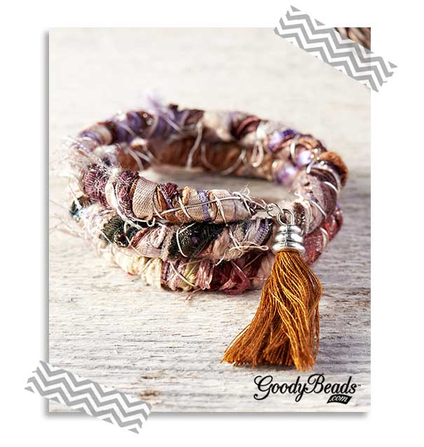 GoodyBeads.com | Blog: How to Use Silk Ribbon in Jewelry - Tutorial on how to make this bracelet using memory wire and silk ribbon or a variation of fibers.