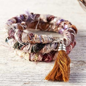 Memory Wire Ribbon Wrap Bracelet - Step 6: Embellish with charms, bead dangles, tassel, or wear as is. Your boho fiber bracelet is complete!