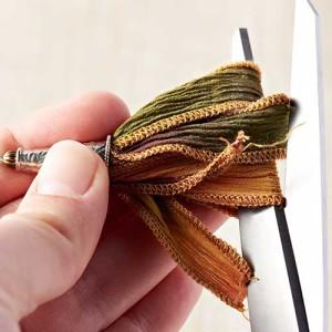 Silk Ribbon Tassel Earrings - Step 6: Cut the ribbon loops.