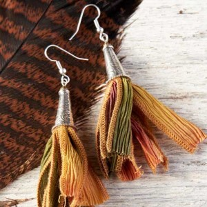 Silk Ribbon Tassel Earrings - Step 7: Attach ear wire and repeat for the other tassel earring.