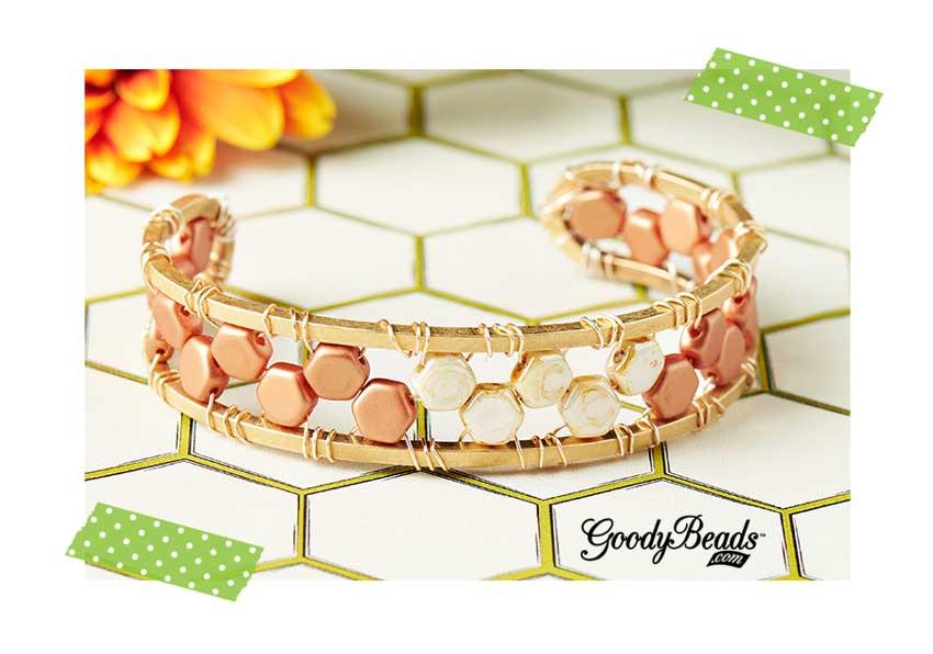 GoodyBeads.com| Blog: Czech Honeycomb Beads Bracelet Tutorial: Czech Honeycomb Cuff Tutorial.