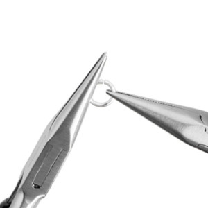 Step Two: Take your second pair of pliers and grasp the other side of the jump ring almost perpendicular to your left pliers.