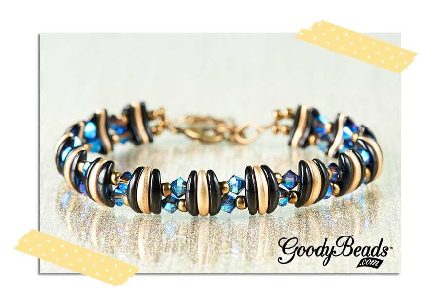 GoodyBeads.com | Blog: Midnight Gold Czech Crescent Bracelet with FREE Tutorial