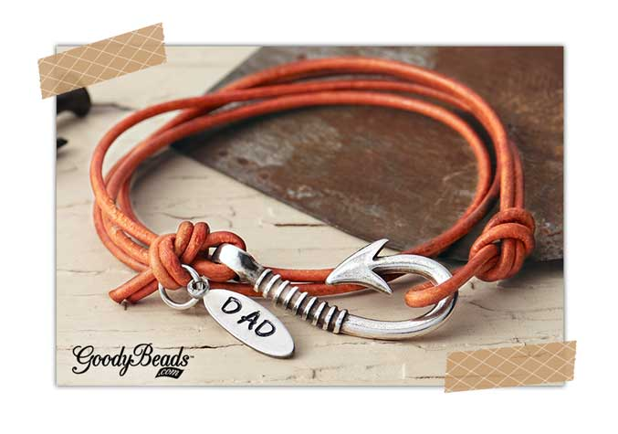 GoodyBeads.com | Blog: DIY Father's Day Gifts with Alkemé™ Stamping Blanks - Leather Cord Wrap Bracelet with Alkemé Blank