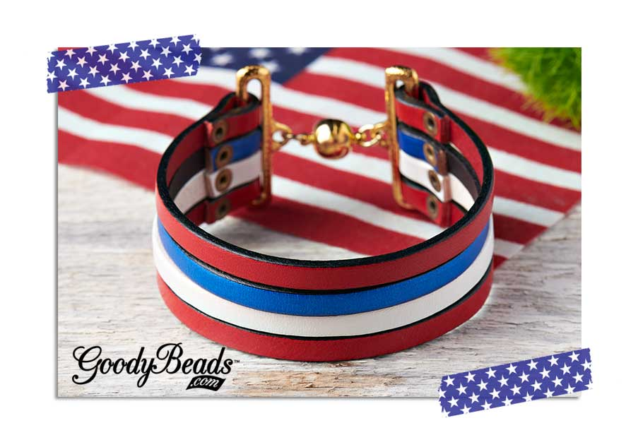 GoodyBeads.com | Blog: Memorial Day DIY Jewelry - Red, White and Blue Flat Leather Bracelet using 5mm flat leather strands, rivets and bar clasp.