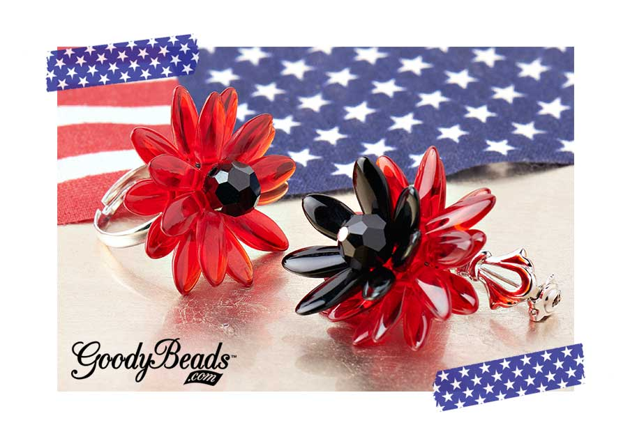 GoodyBeads.com | Blog: Memorial Day DIY Jewelry – Red Poppy Ring and Pin made with Czech dagger beads and Swarovski crystals.