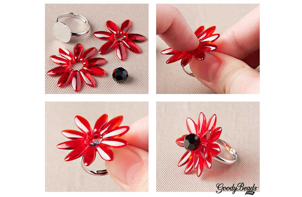 GoodyBeads.com | Blog: Memorial Day DIY Jewelry – Red Poppy Ring Tutorial.