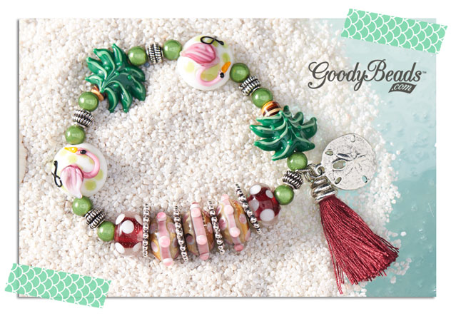 GoodyBeads.com | Blog: Beachy Flamingo and Palm Tree DIY bracelets - Beach Party Stretch Bracelet with Flamingo and Palm Tree lampwork glass beads.