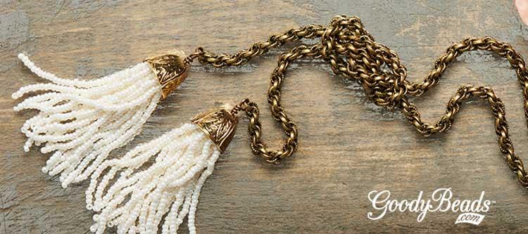 GoodyBeads.com | Blog: Beaded Tassel Tutorial - Queen Guinevere Beaded Tassel Lariat Necklace
