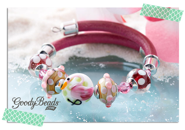 GoodyBeads.com | Blog: Beachy Flamingo and Palm Tree DIY bracelets - Flamingo lampwork glass beads strung with leather cord on memory wire