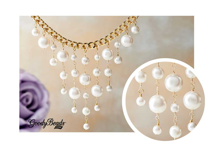 GoodyBeads.com | Blog: How to make a wire-wrapped loop - Linked wire-wrapped loops to make this pearl waterfall necklace