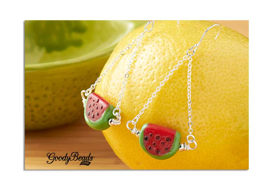 GoodyBeads.com | Blog: How to make a wire-wrapped loop - We used wire and made double wrapped loops on both sides of these delicious watermelon!