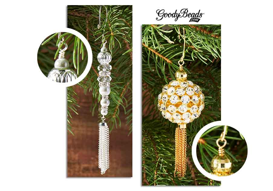GoodyBeads.com | Blog: How to make a wire-wrapped loop - Here we made fancy holiday ornaments and made wire-wrapped loops to finesse the overall look.