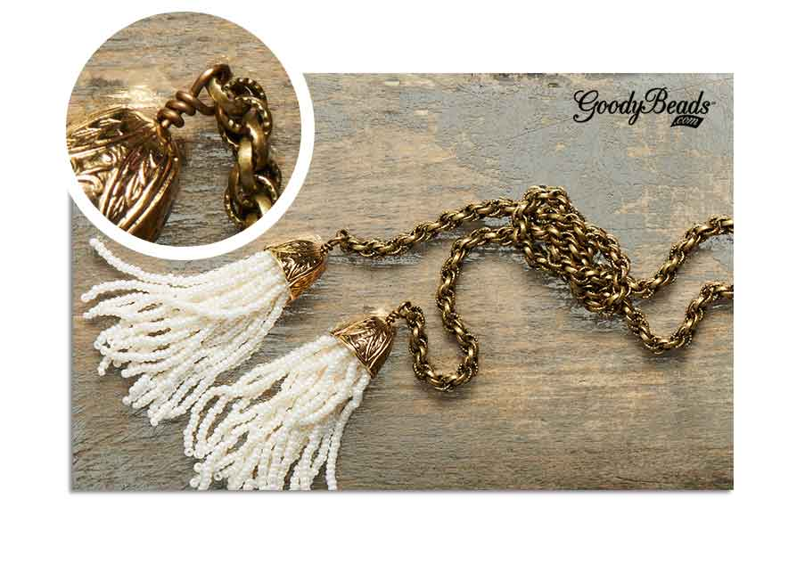GoodyBeads.com | Blog: How to make a wire-wrapped loop - wrapped wire loops romanticizes this necklace.