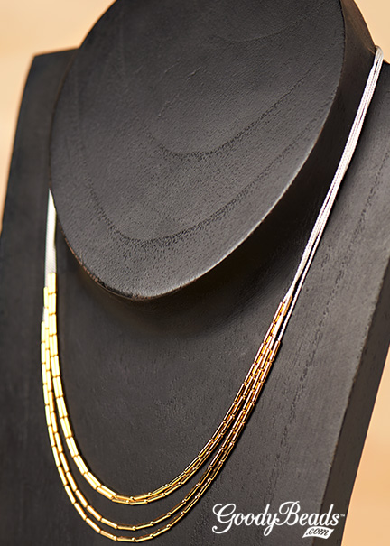 GoodyBeads.com | Blog: Make this minimalistic-inspired, layered necklace with Gold Tube beads on silk cord.