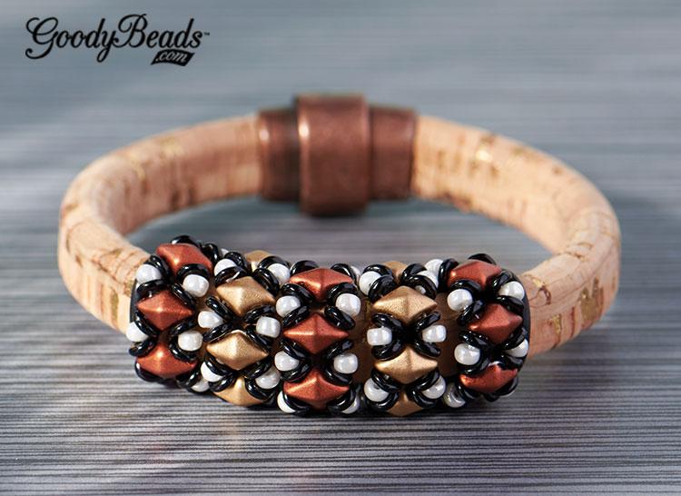GoodyBeads | Blog: DiamonDuo beaded loops on Licorice Leather. FREE tutorial. Copper Lights Licorice Leather Bracelet