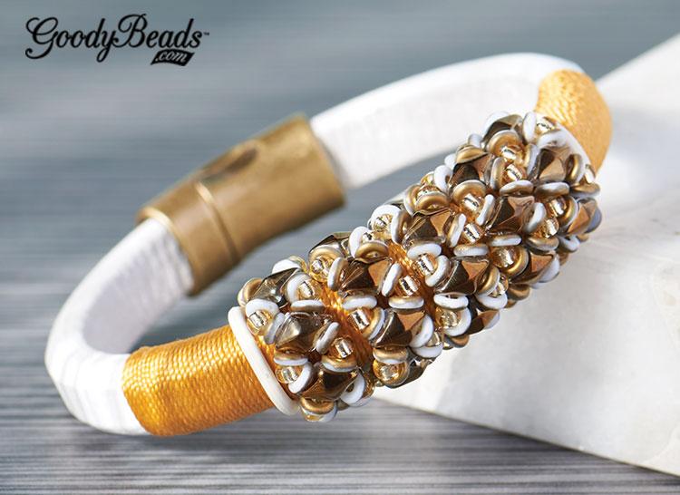 GoodyBeads | Blog: DiamonDuo beaded loops on Licorice Leather. FREE tutorial. Golden Brights Licorice Leather Bracelet