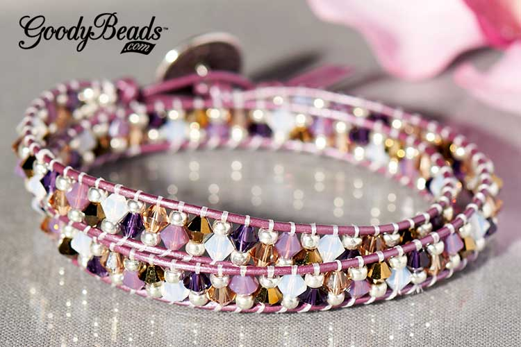 GoodyBeads | Blog: Master mixes of Swarovski Crystals - Grapevine Leather Wrap Bracelet