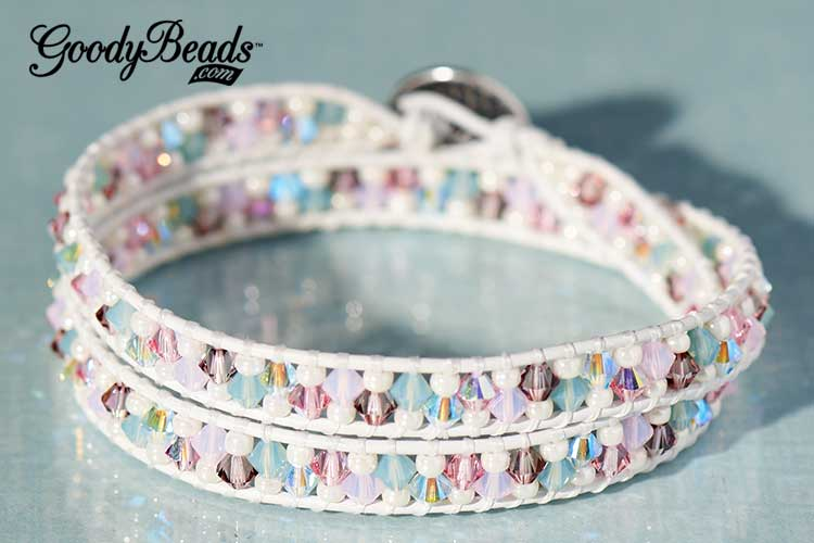 GoodyBeads | Blog: Master mixes of Swarovski Crystals - Victorian Rose Leather Wrap Bracelet