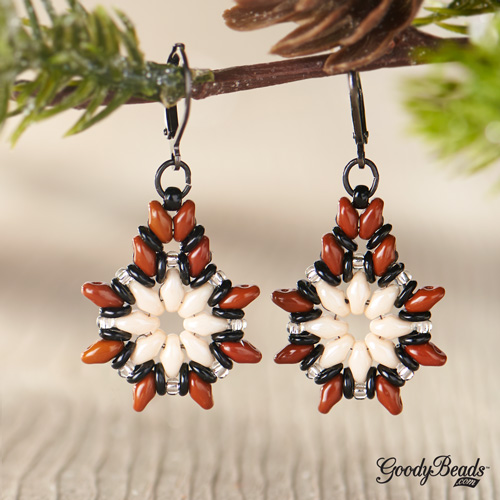 GoodyBeads | Blog: SuperDuo Star Blooms Poinsettia earrings with FREE tutorial