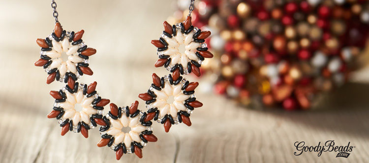 GoodyBeads | Blog: superduo poinsettia necklace and earrings FREE tutorial