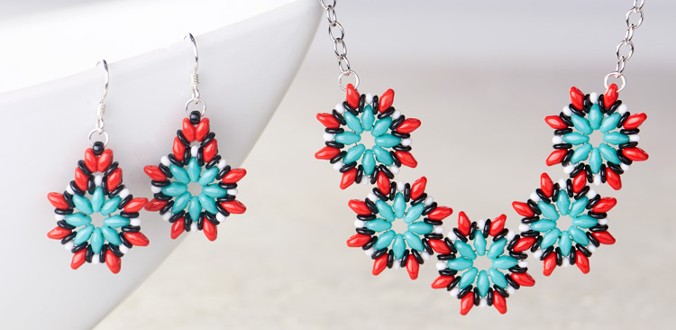 GoodyBeads | Blog: SuperDuo star blooms southwestern necklace earrings with FREE tutorial