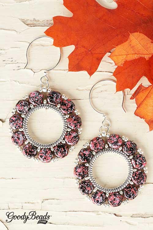 GoodyBeads | Blog: Czech Honeycomb Groovey Bead Frame Pendant - fuchsia tweedy honeycomb earrings