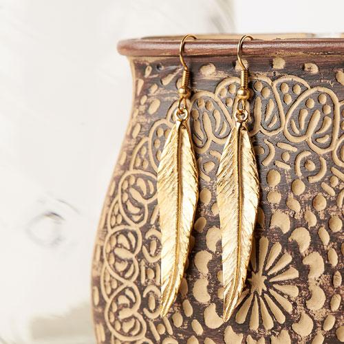 GoodyBeads | Blog: Easy DIY Charm Earrings - gold feather earrings