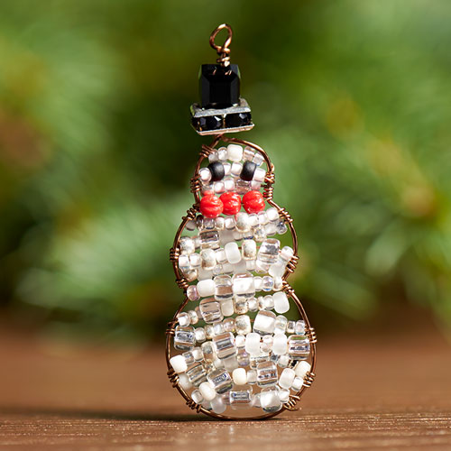 GoodyBeads | Blog: Artistic Wire Finding Forms - holiday snowman ornament form with seed beads