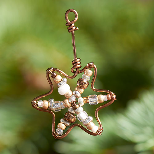 GoodyBeads | Blog: Artistic Wire Finding Forms - holiday star ornament form with seed beads