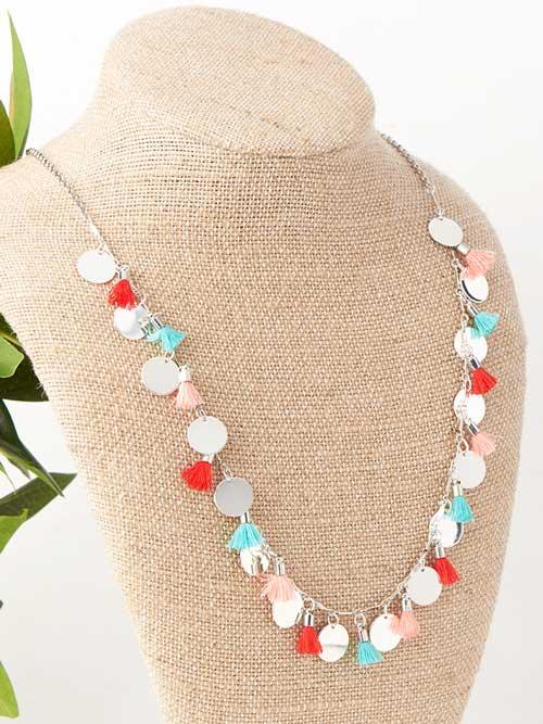 GoodyBeads | Blog: silver charm fabric tassel necklace