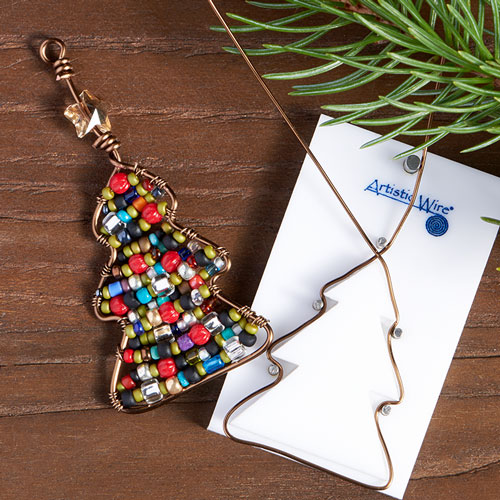 GoodyBeads | Blog: Artistic Wire Finding Forms - holiday tree ornament form with seed beads