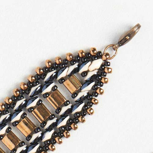 GoodyBeads | Blog: Black and Bronze SuperDuo Duet Bracelet End image with Tila Miyuki seed beads.