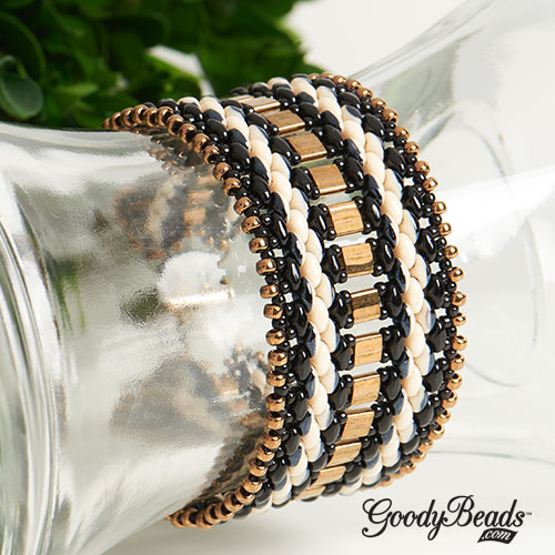 Black and Bronze SuperDuo Duets Cuff Bracelets with Tila Miyuki seed beads & Czech SuperDuo.