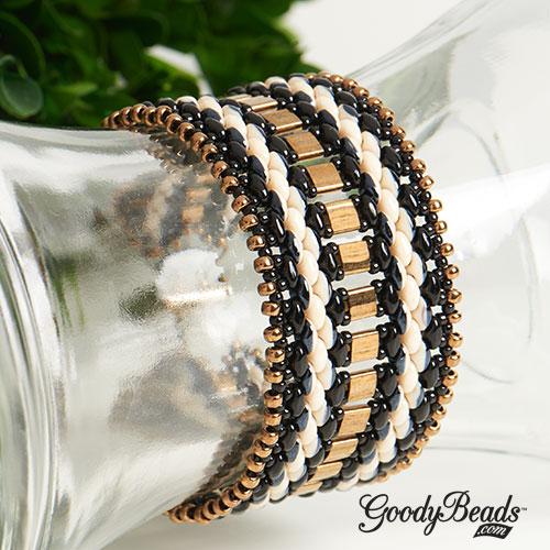 Black and Bronze SuperDuo Duets Cuff Bracelets with Tila Miyuki seed beads & Czech SuperDuo.
