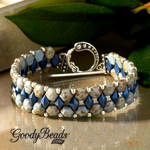GoodyBead | Blog: chalk blue Czech honeycomb jewel bracelet with DiamonDuos and size 8/0 Miyuki seed beads.