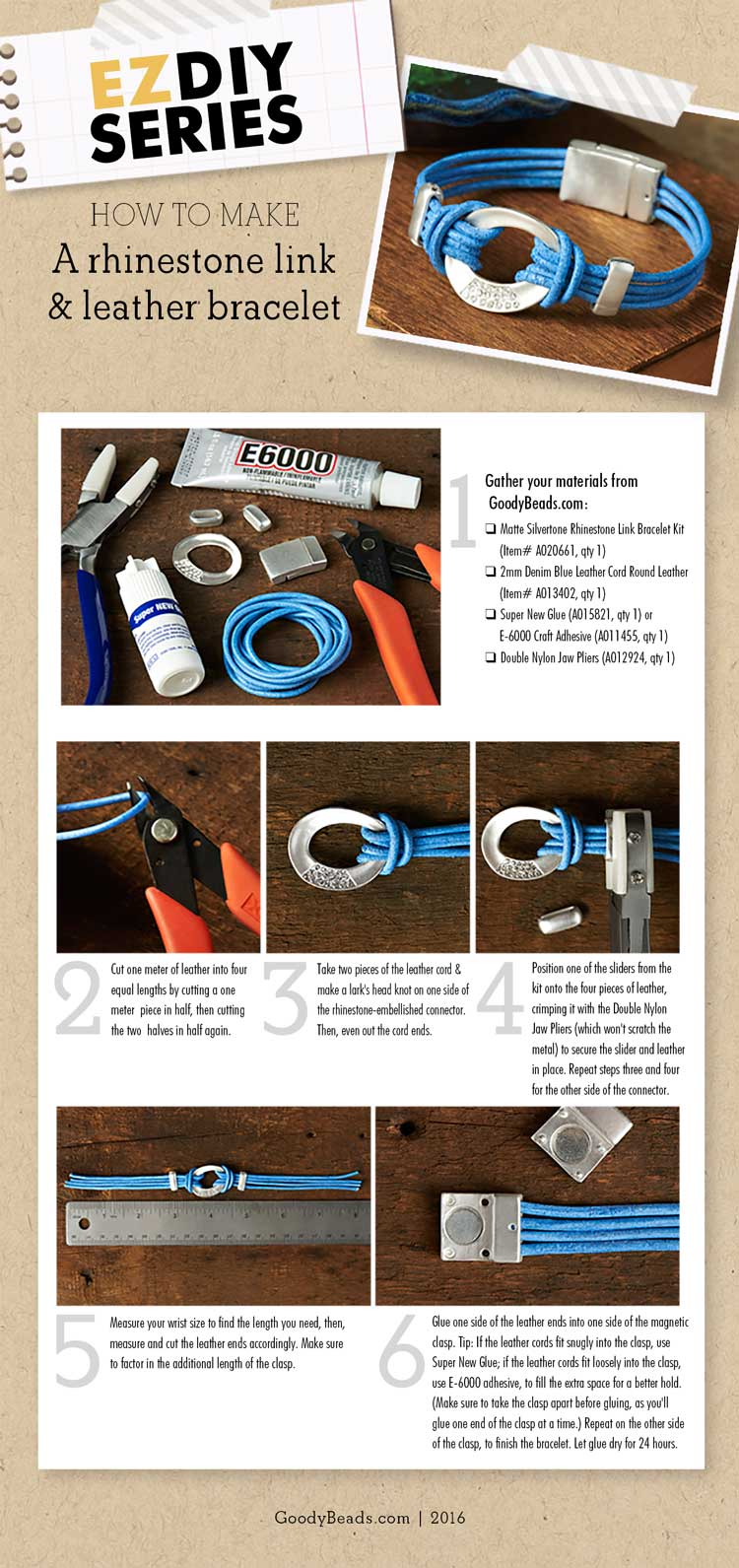 GoodyBeads | Blog: EZDIY Series - How to Make a rhinestone link and leather bracelet