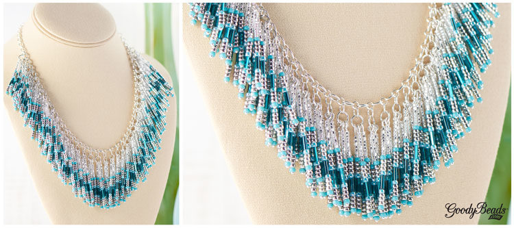 GoodyBeads | Blog: Falling waters beaded necklace. Seed beads, bugle beads, statement necklace.